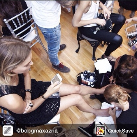 #ModelLife #BCBGMoments Repost from @bcbgmaxazria Aerial shot of the @ZoyaNailPolish gals making sure no detail is overlooked for the #BCBGResort15 show!